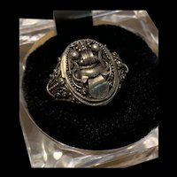 Vintage Chinese Export  Sterling Silver Dragon Ring