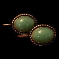 Vintage Gild Sterling Silver Jade Earring