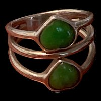 Vintage Chinese Sterling Silver Natural Empire Green Jadeite Ring