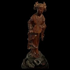 Old Chinese Wood Carving Statue Of Young Lady