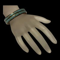 Native American Blue Turquoise Inlaid 12K GF Cuff