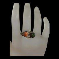 Vintage Sterling Silver Filigree Coral And  Jade Ring