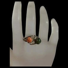 Vintage Sterling Silver Filigree Coral And  Jade Ring