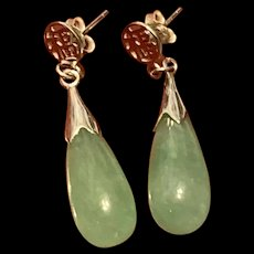 Vintage Chinese Sterling Silver Jadeite Dangle Earrings With Lucky Chinese Character