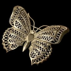 Vintage Sterling Silver Filigree Butterfly Brooch