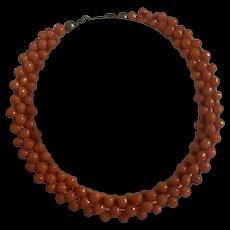 Antique Red Mediterranean Coral Woven Bracelet