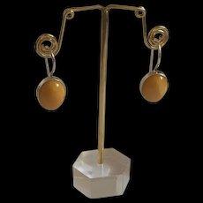 Fabulous Vintage Sterling Silver Baltic Butterscotch Amber Drop Earrings