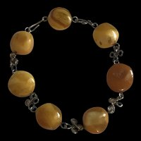 Baltic Butterscotch Amber Sterling Silver linked Bracelet