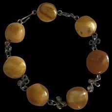 Baltic Butterscotch Amber Sterling Silver linked Bracelet