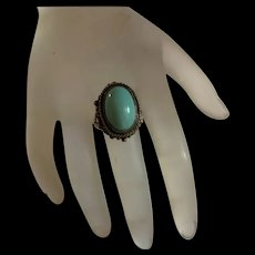 Fabulous Art Deco Sterling Silver Sleep Beauty Turquoise Ring