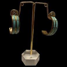 Native American Blue Turquoise Inlaid 12K GF Hoop Earrings