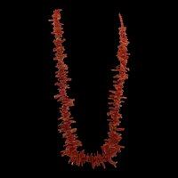 Gorgeous Red Sardinian Coral Stick Branch Graduated Necklace