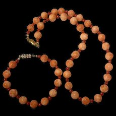 Amazing Vintage Carved Coral Bead Necklace With Bracelet