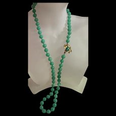 Amazing Vintage Green Jade Pecking Glass Bead Necklace