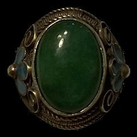 Amazing Vintage Chinese Enamel Silver Jade Adjustable Ring Signed