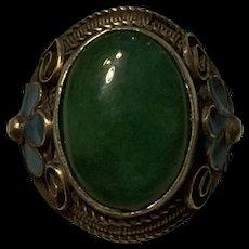 Amazing Vintage Chinese Enamel Silver Jade Adjustable Ring Signed