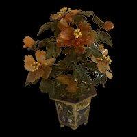 Vintage Chinese Agate Carnelian  Peony Bonsai  Flower Tree In Enameled  Pot