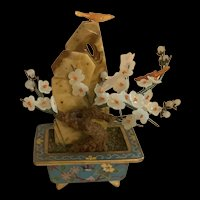 Vintage Chinese White Jade Flower Bonsai Tree In Cloisonné Pot