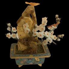 Vintage Chinese White Jade Flower Bonsai Tree In Cloisonné Pot