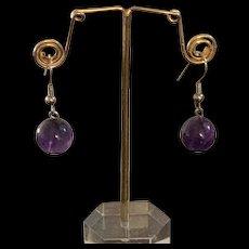 Vintage Sterling Silver Round Amethyst Bead Earrings