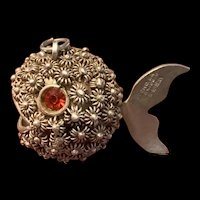 Vintage Sterling Silver Filigree Puffer Blow Fish Pendant