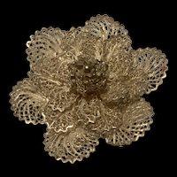 Stunning Vintage Silver Filigree Flower Brooch