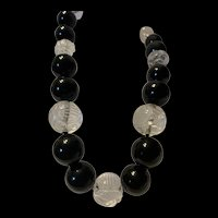 """Rare Antique Chinese Rock Crystal""""SHOU"""" Beads & Black Onyx Beads Necklace"""