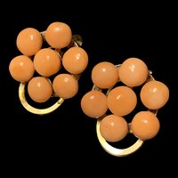 Amazing Vintage Coral Cluster Gild Earrings