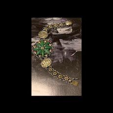 Antique Art Deco Chinese  18K Gold Gild Silver Repousse Marquise Shape Apple Emerald Jadeite Jade Flower Bracelet