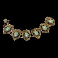 Antique Chinese Silver Gold Filigree Turquoise Bracelet With Hallmark