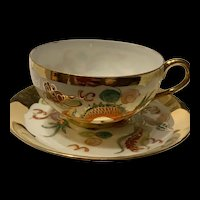 Vintage Chinese Large  Hand painted Teacup  And Saucer