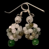 Vintage Chinese Sterling Silver Woven Jade Beads Dangle Drop Earrings