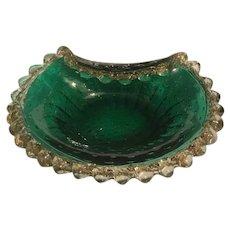 Fabulous Vintage Bohemian Art Glass Green Gold Cased Ashtray