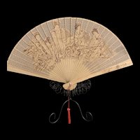 Vintage Chinese Wooden Hand Painted Folding Fan