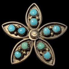 Vintage Sterling Silver Zuni Snake Eye Turquoise Pendent /Brooch