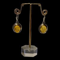 Amazing Vintage Sterling Silver Baltic Natural Amber Dangle Earrings
