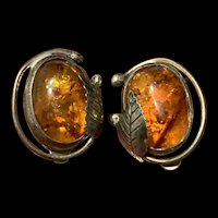 Stunning Vintage Sterling Silver Baltic Amber Earrings
