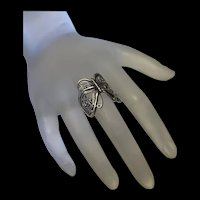 Stunning Vintage Sterling Silver Filigree Butterfly Ring