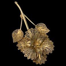 Gorgeous Sterling Silver Gold Vermeil Filigree Flower Pin Brooch