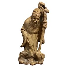 Antique Chinese Carved Wise Old Man Soapstone Statue