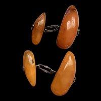 Antique Baltic Butterscotch Amber Cufflink