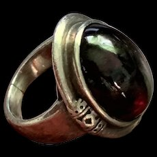 Amazing Vintage Sterling Silver Burgundy Tourmaline Ring