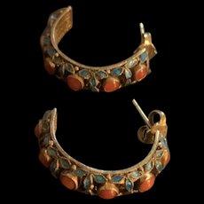 Art Deco Chinese Export Gild Filigree Sterling Silver Enamel Coral Hoops Dangle Earrings