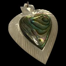Vintage Large Heart Mother Of Pearl Abalone Shell Brooch