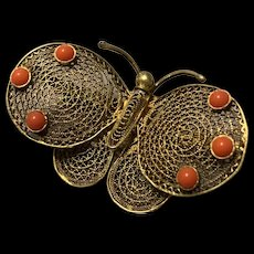 Antique Chinese Export Gild Silver Filigree Butterfly With Natural coral beads  Brooch