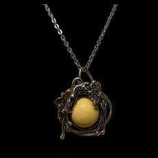 Antique Baltic Butterscotch Amber Pendant Necklace