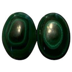 Vintage Large Malachite Clip Earrings