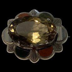 Rare Antique Scottish Smoky Quartz Agate Sterling Silver Brooch
