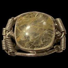 Fabulous Vintage Sterling Silver Golden Rutilated Quartz Ring