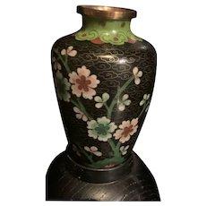 Vintage Chinese Export Cloisonné Enamel Floral Vase